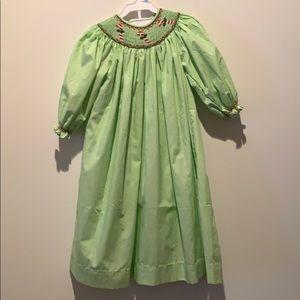 EUC GIRLS STRIPED SMOCKED CANDY CANE DRESS 4T